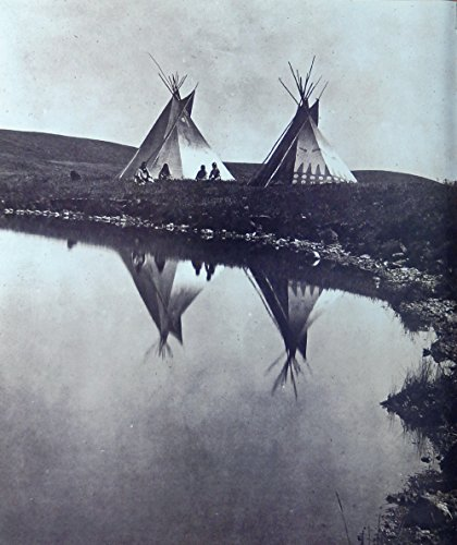(Two Piegan Tipis 1910 B&W Illustration, scarce print art)