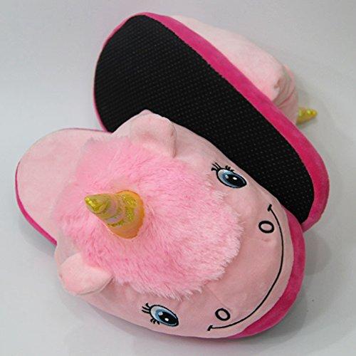 CHENGYANG Unisex Cartoon Animals Slipper Funny Winter Warm House Indoor Shoes Plush Non-Slip Slippers Pink#09 839LFuV