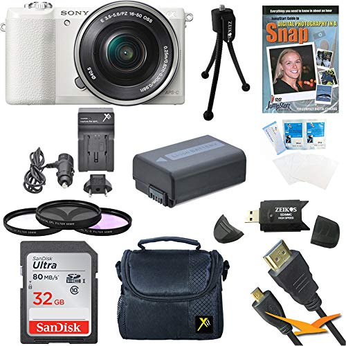 Sony a5100 ILCE5100L/W 16-50mm Interchangeable Lens Camera with 3-Inch Flip-Up LCD (White) Bundle with 32GB Class 10 SD Card, Spare Battery, AC/DC Charger + More