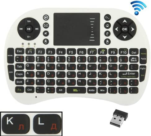 Color : White English Keyboard//Russian Keyboard Happyshopping Russian i8 air Mouse Wireless Keyboard with touchp UKB-500-RF 2.4GHz Mini Wireless Keyboard Mouse Combo with Touchpad /& USB Receiver