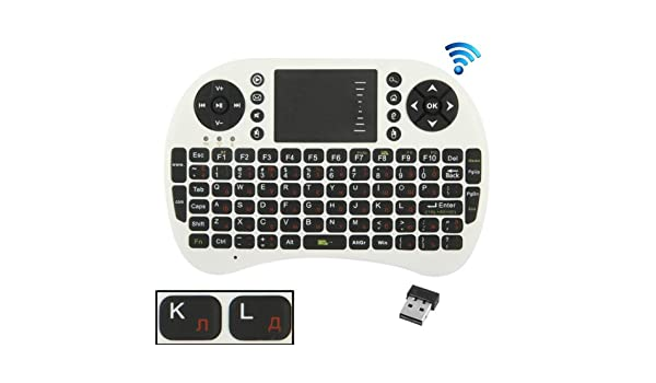 Color : White English Keyboard//Russian Keyboard UKB-500-RF 2.4GHz Mini Wireless Keyboard Mouse Combo with Touchpad /& USB Receiver White