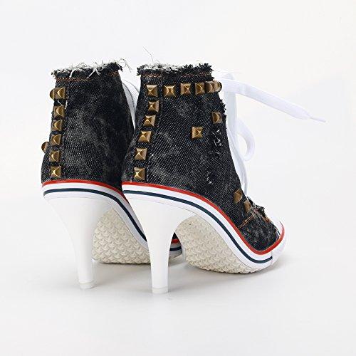 Sneakers Ankle Boots Black Rivet High Canvas Fashion up OCHENTA Women's Lace Heel TU1wAwxBq