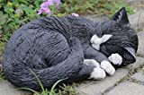 Hi-Line Gift 87728-A Cat Sleeping Lying Down Statue44; Black & White For Sale