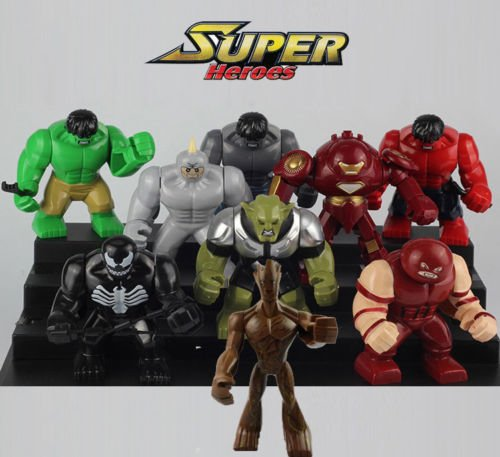 9-sets-lot-big-minifigures-avengers-super-heroes-hulk-rhino-groot-venom