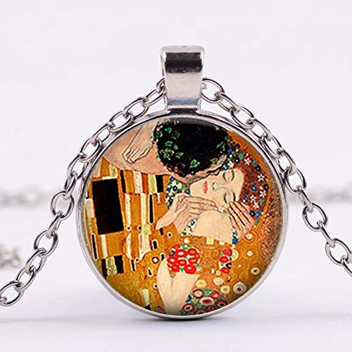 Abstract Oil Painting Glass Art Pendant Chain Necklace Valentines Day Gift Brand The Kiss by Gustav Klimt Artist Necklace