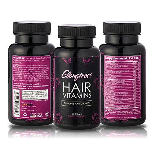 Elongtress Hair Vitamins - With 5000 Mcg Biotin, Silica & MSM - 2 Per day -...