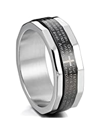 MOWOM Silver Tone Black Stainless Steel Ring Band Bible Lords Prayer Cross