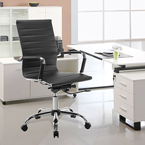 Mecor Adjustable Office Computer Chair-High Back Executive Desk Chair W/Chrome Base and Arms-PU Leather 360 Degree Ergonomic Swivel Chair for Home, Conference Room etc-Black by mecor