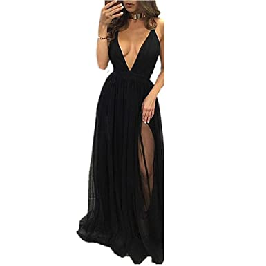 Beautydress Sexy Deep V-neck Prom Dresses with Slit Evening Party Gowns for Women BP060