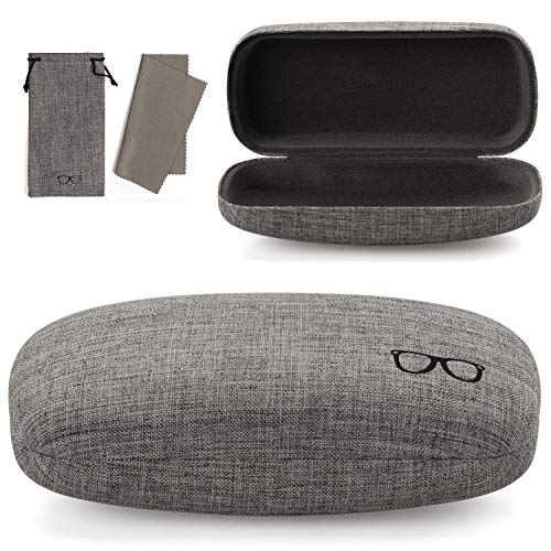 Vemiss Hard Shell Eyeglasses Case Linen Fabrics Large Sunglasses Case Concise (Large, Gray+Gray)
