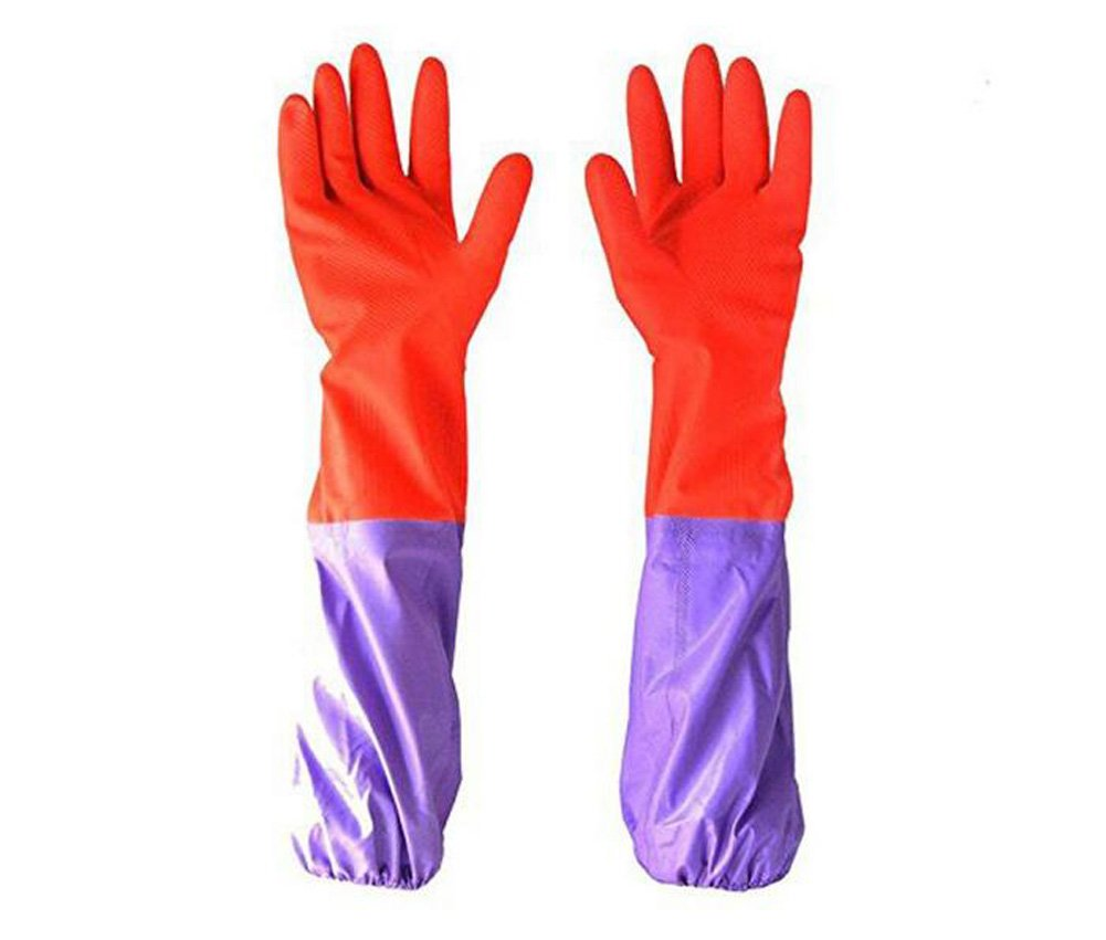 Long Sleeve Gloves Antiskid Household Housework Kitchen Laundry Dishwashing Cleaning Long Waterproof Gloves Warm Gloves erioctry