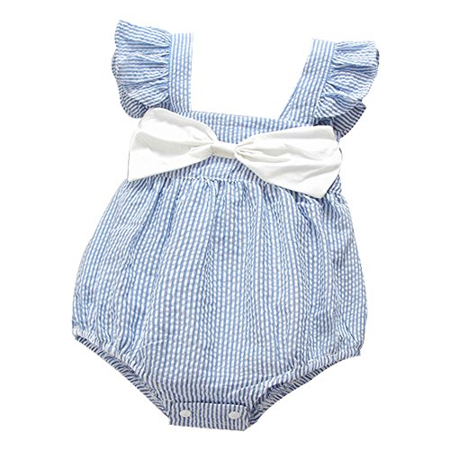 Ding Dong Baby Girl Summer Striped Triangle Romper(Blue Bowknot, - Smocked Bubble