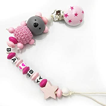 Baby Pacifier Chain Clip Holder Wooden Bead Key Shaped Pendant Pacifier Chain 6A