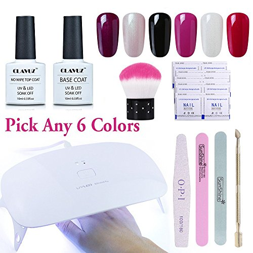 Any 6 Color Gel Nail Polish Soak Off 24W LED With Top Coat A