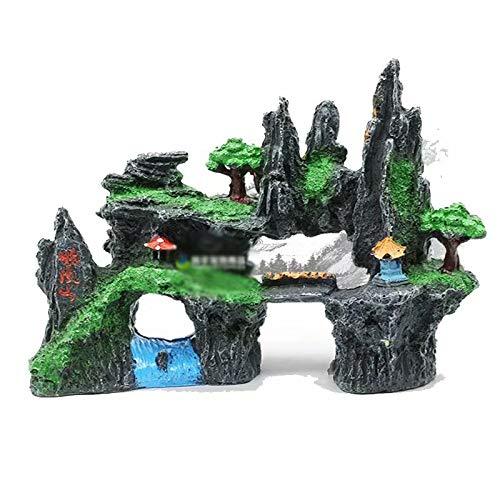 20x8x14cm Mountain View Aquarium Rock Cave Tree Bridge Fish Tank Ornament Rockery Decor