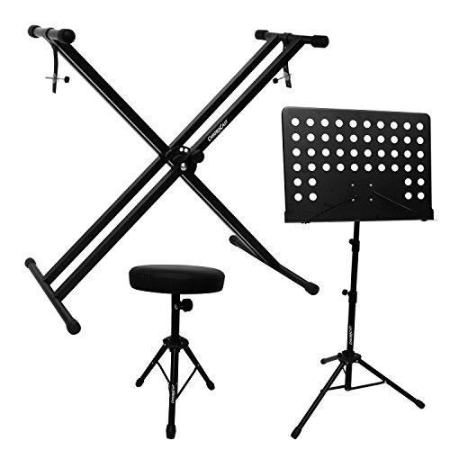 ChromaCast Electronic Keyboard Stand, Padded Seat and Music Sheet Stand Bundle by ChromaCast