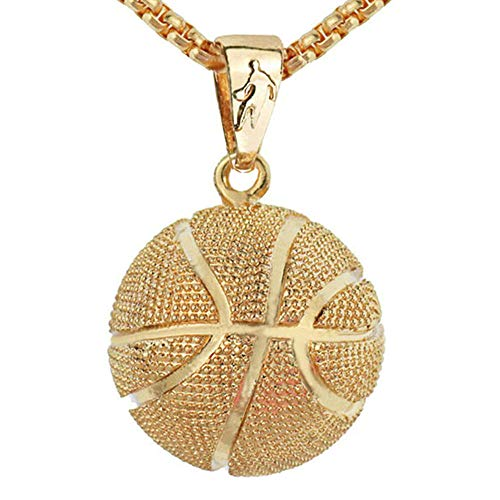 (LIYALI Boys Basketball Pendant Necklace Stainless Steel Necklace Sports Necklace (Gold th))