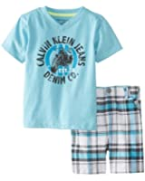 Calvin Klein Baby Boys' Tee with Plaided Short