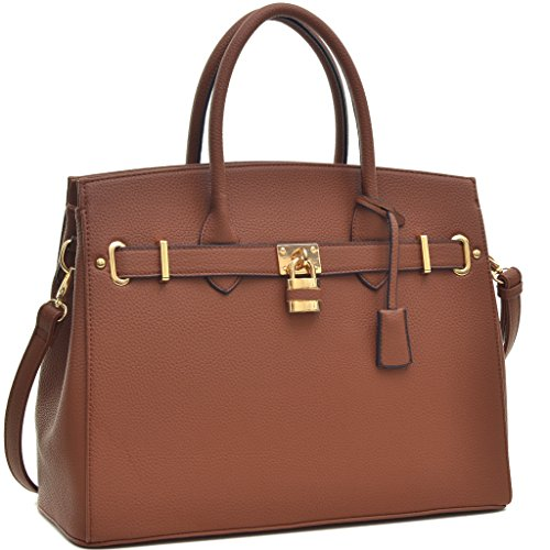 Dasein Womens Top Handle Satchel Handbags Designer Tote Purse Shoulder Bag Faux Leather Padlock Briefcase Laptop Bag