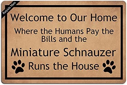 Ruiyida Schnauzer Welcome To Our Home Entrance Floor Mat Funny Doormat Door Mat Decorative Indoor Outdoor Doormat Non-woven 23.6 By 15.7 Inch Machine Washable Fabric Top