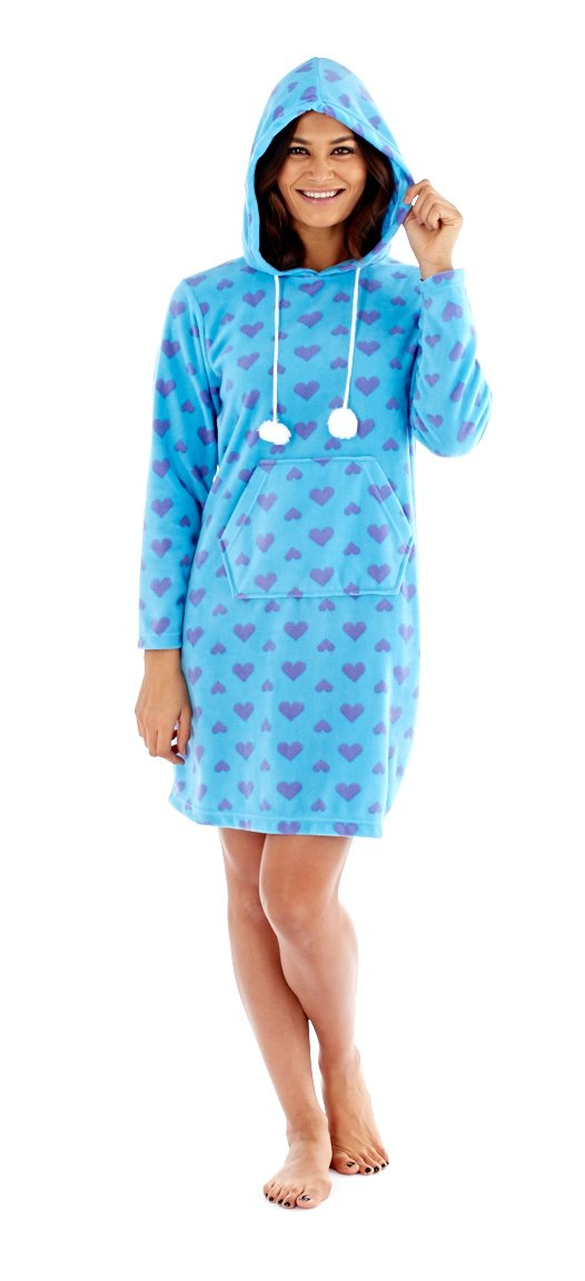 Selena Secrets Ladies Heart Fleece Pyjamas Poncho Hooded Lounger Pyjama Top Robe 100cm