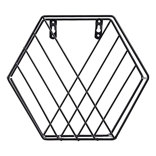 gentman Storage Rack Iron Hexagonal Grid Wall Rack Combination Wall Hanging Geometric Shelf Wall Decorative Newspaper Rack for Living Room Bedroom by gentman