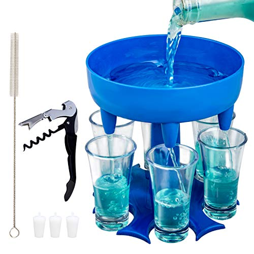 6 Shot Glass Dispenser and Holder with 6 Pcs Cups,Bar Shot Dispenser Cocktail Dispenser for Filling Liquids includes Waiter Corkscrews for Parties Drinking (Blue)