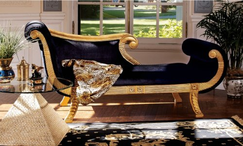 Hand Carved Chaise (Ancient Egyptian Antique Replica Hand-carved Royal Chaise Lounge Indoor)