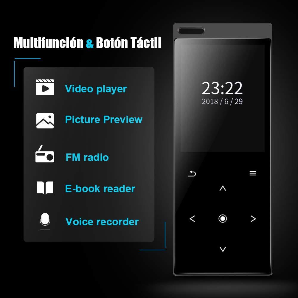 Soporte hasta 128 GB Tarjeta Reproductor de M/úsica Deporte Bluetooth 4.1 con Altavoz Incorporado AIMIUVEI Reproductor MP3 16GB FM V/ídeo Pantalla TFT 1.8 Plugadas Grabaci/ón y Imagen E-Book