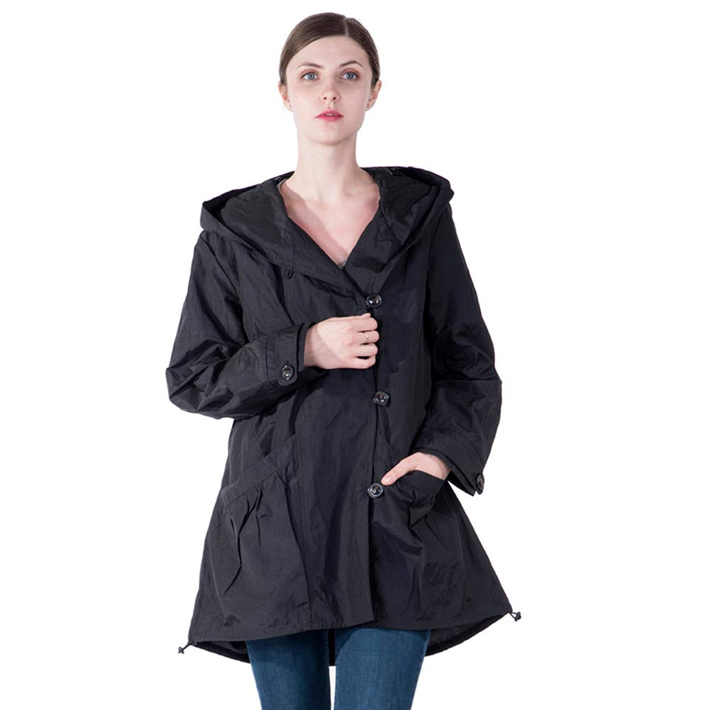 Infron IN FRONT Women Plus Size Jacket Water-Repellent Raincoat Elegant Hooded Single-Breasted Anorak Coat Spring/Fall Lightweight Windbreaker by Infron IN FRONT