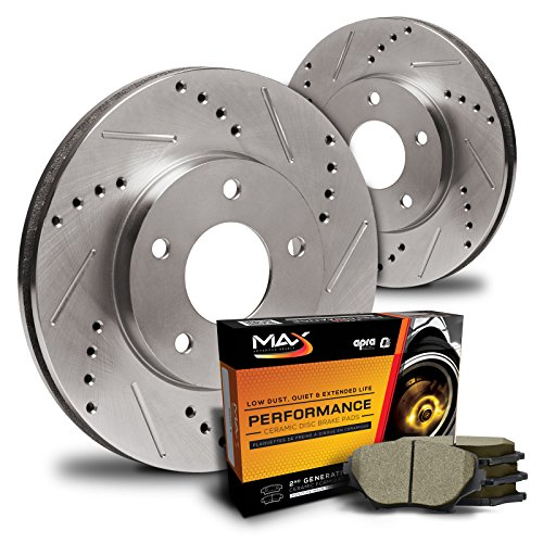 Max KT021332 Rear Premium Slotted & Drilled Rotors and Ceramic Pads Combo Brake Kit (Max Advanced Brakes 01 Mustang compare prices)