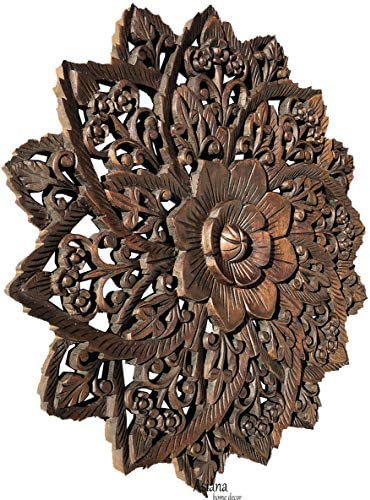 Water Lilly Round Wood Carved Wall Art. Tropical Bali Floral Rustic Home Decor. 24″ Extra Thick Dark Brown