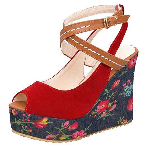 Azbro Mujer Sandalias Floral Correa Cruzada de Tacón Cuña Plataforma con Puntera Abierta Rojo