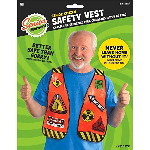 Amscan Fun Novelty Senior Citizen Safety Vest, 1 Piece, Made from Plastic, Adult Party, 11