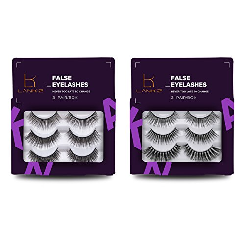 [False Eyelashes Pack 3D Black Soft Natural Long Fake Thick Eye Lashes Strips Halloween Eyelashes for Women 6 Pairs/2 Pack by LANKIZ] (Halloween Fake Eyelashes)