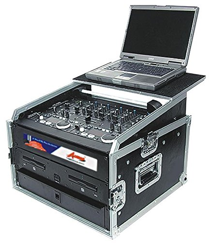 Live Dj Recording Mixer (Professional DJ Rack Case With Sliding Laptop Stand - For Controllers, Mixers and Amplifiers - 10 and 6 Top and Bottom Space Storage - Pro ATA 16U By GMI Pro)