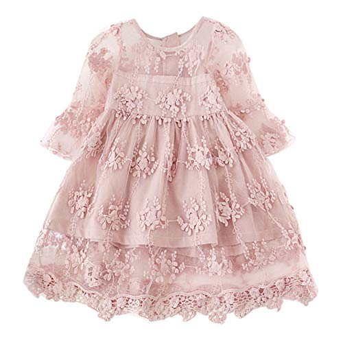 NNJXD Flower Girls Dress Girls Lace Princess Party Pageant Tulle Summer Vintage Dress 2-3 Years 02Pink ()