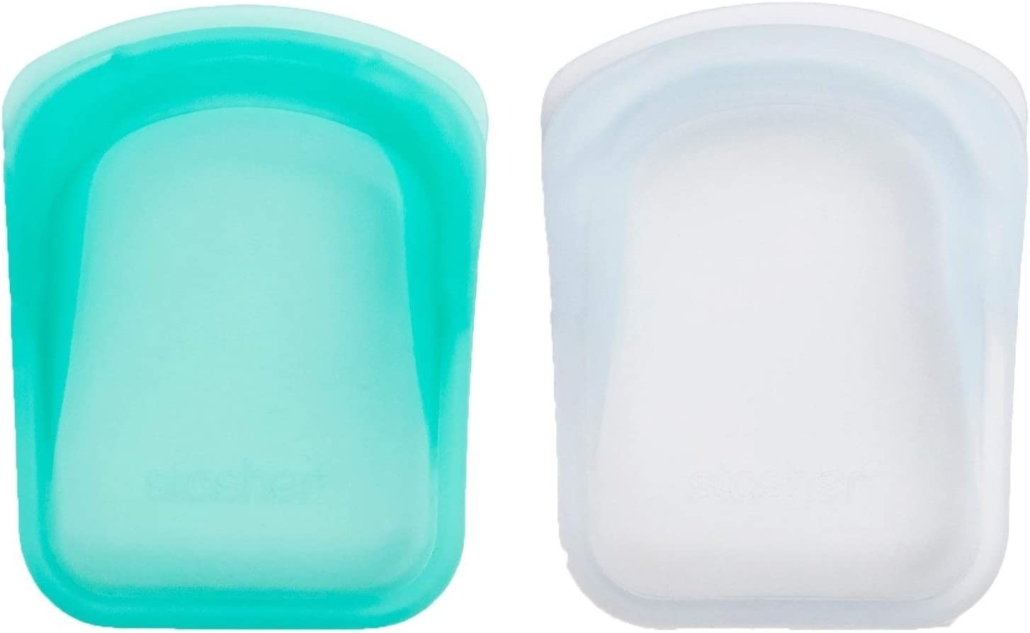 Stasher Re-Usable Food-Grade Platinum Silicone Pocket Bag for Eating from/Storing in/Organising/Travelling, 8.25 x 12.05 cm, Set of 2, Clear and Aqua