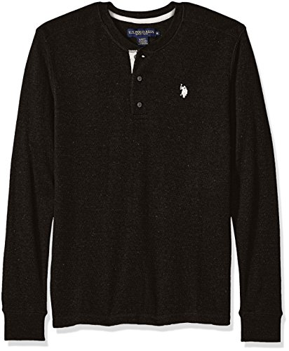 (U.S. Polo Assn. Men's Long Sleeve Slim Fit Fleck Thermal Henley Pullover, Black Heather, Small)