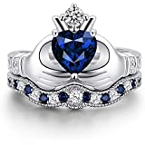Women Fashion Jewelry 925 Sterling Silver Blue Sapphire Claddagh Ring Set New (7)