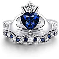 Women Fashion Jewelry 925 Sterling Silver Blue Sapphire Claddagh Ring Set New (8)
