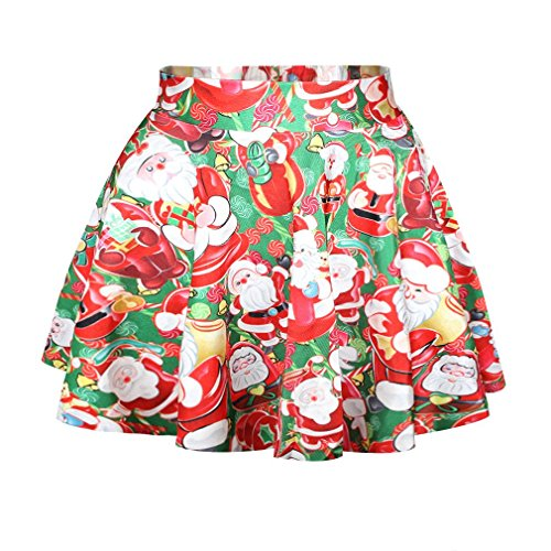 SAYM Women Girls Stretchy Polka Dot Flared Casual Mini Skirt -