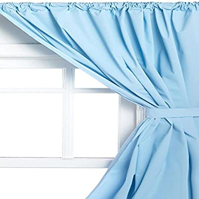Carnation Home Fashions Vinyl Bathroom Window Curtain, Light Blue - 100Percent PVC material Wipes clean with a damp sponge Comes complete with two panels and two tiebacks - living-room-soft-furnishings, living-room, draperies-curtains-shades - 519mCZi2TVL. SS400  -