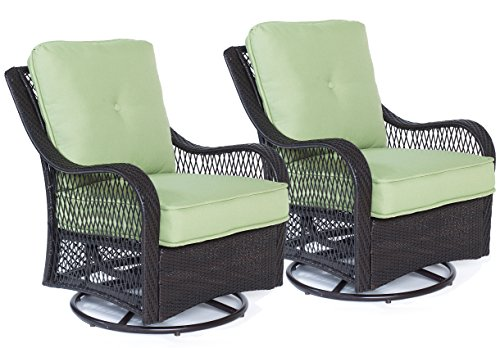 Hanover ORLEANS2PCSW Orleans Swivel Gliding Chairs in Avocado Green-Set of Two Outdoor Furniture