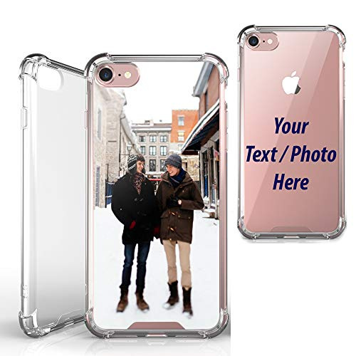 Beyond Cell [Custom Personalize] [Create Your Own] for iPhone 7 / iPhone 8 Case, Photo Name Clear TPU + PC 4 Corner Case + Wireless Charging Compatible from Beyond Cell