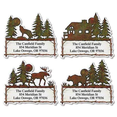 Country Lodge Diecut Return Address Labels- Set of 144 Large Self-Adhesive, Flat-Sheet Labels, By Colorful Images