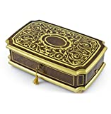 MusicBoxAttic Handcrafted 36 Note Swiss Gold Arabesque Musical Jewerly Box - Canon in D