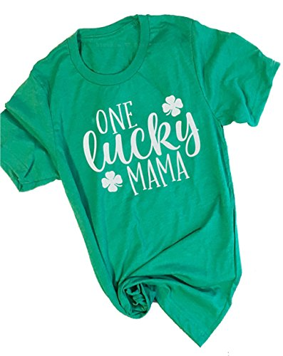 UNIQUEONE Women One Lucky Mama Letter Funny T-Shirt ST.Patrick's Day Mama Gift Shirt Size L (Green)