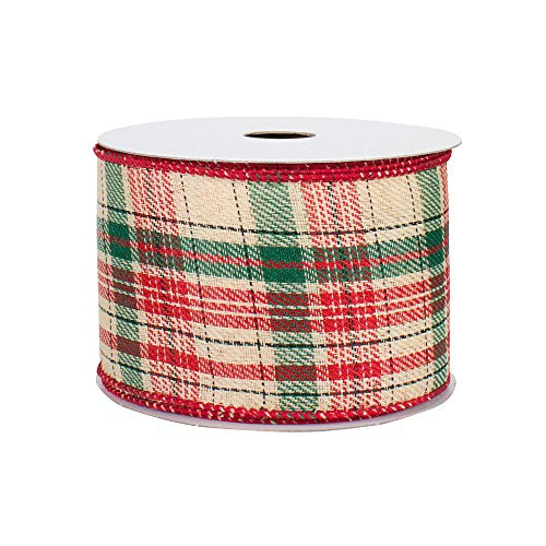 """Wired Christmas Ribbon for Wreaths - 2 1/2"""" x 10 Yards, Natural Plaid, Beige, Forest Green and Red, Garland, Gifts, Wrapping, Wreaths, Bows"""