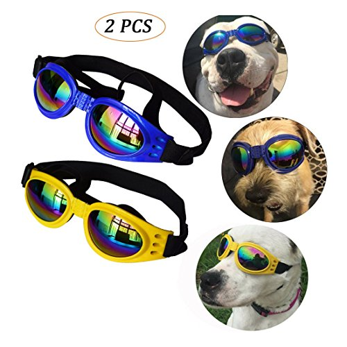 LibbyPet Pet Sunglasses for Dogs Goggles Eye Waterproof Windproof UV Protection For Doggy Puppy Cat (Blue+Yellow 2pcs) by LibbyPet